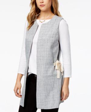 kensie Tweed Tie-Detail Vest
