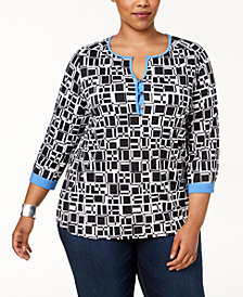 NY Collection Plus Size Printed Henley Top