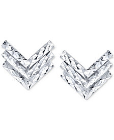 Unwritten Chevron Stud Earrings in Sterling Silver