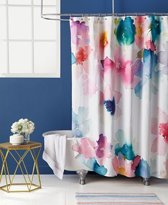 Bluebellgray Sanna Cotton Watercolor Floral Print Shower Curtain