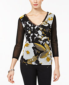 I.N.C. Petite Printed Illusion-Sleeve Top, Created for Macy's