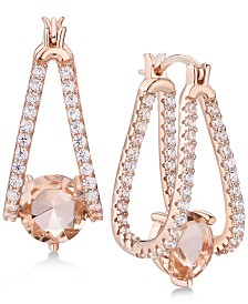 Cubic Zirconia Small Captured Hoop Earrings in Sterling Silver