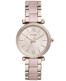 Fossil Women's Carlie Two-Tone Acetate and Stainless Steel Bracelet Watch 36mm