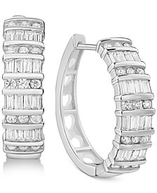 Cubic Zirconia Huggie Hoop Earrings in Sterling Silver