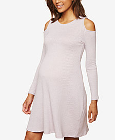 Motherhood Maternity Cold-Shoulder Ribbed Dress