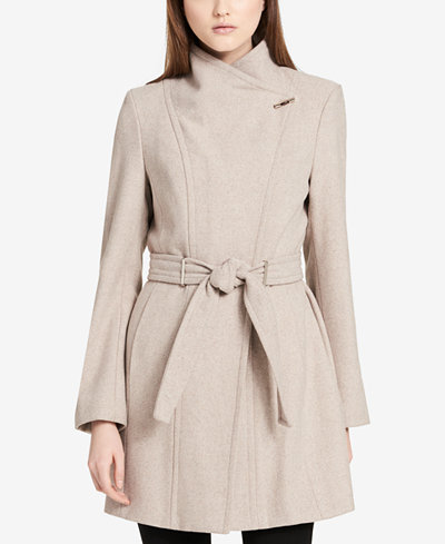 Calvin Klein Belted Asymmetrical Walker Coat