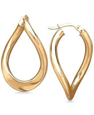 Macy S Polished Curved Oval Hoop Earrings In 14k Gold Earrings