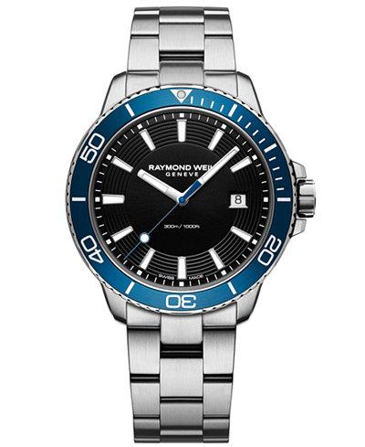 RAYMOND WEIL Men's Swiss Tango Diver Stainless Steel Bracelet Watch 42mm