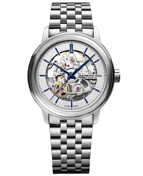 Raymond Weil Men's Swiss Automatic Maestro Stainless Steel Bracelet Watch 39.5mm