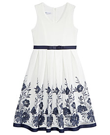 Bonnie Jean Big Girls Floral Embroidered Mesh Dress