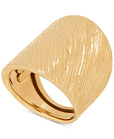 Textured Wide Band Statement Ring in 14k Gold