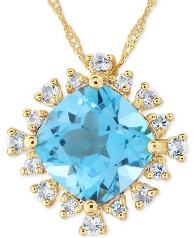 Blue Topaz (3 ct. t.w.) & White Topaz (1/4 ct. t.w.) Pendant Necklace in 14k Gold