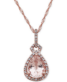 Morganite (2 ct. t.w.) & Diamond (1/6 ct. t.w.) Pendant Necklace in 10k Rose Gold
