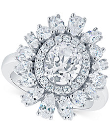 Arabella Swarovski Zirconia Oval Cluster Ring in Sterling Silver