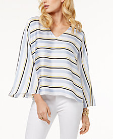 I.N.C. Striped Bell-Sleeve Top, Created for Macy's