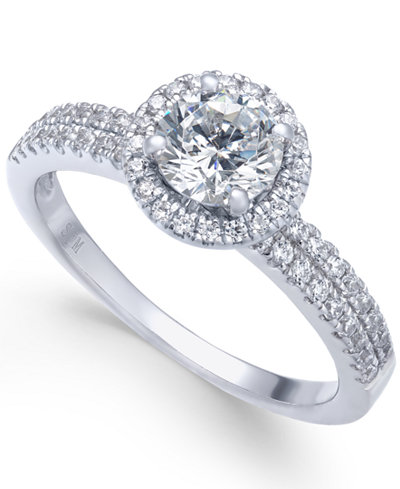 Diamond Halo Ring (1 ct. t.w.) in 14k White Gold