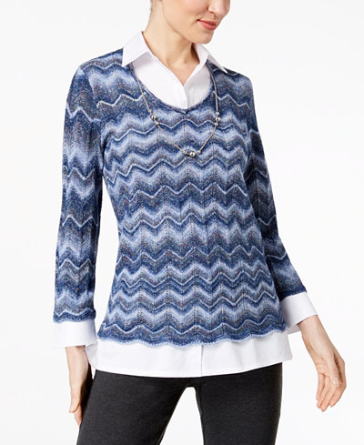 Alfred Dunner Montego Bay Layered-Look Necklace-Embellished Sweater