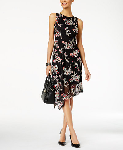 Alfani Asymmetrical Lace Fit & Flare Dress, Created for Macy's