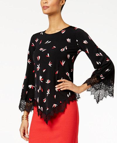 Alfani Petite Printed Lace-Trim Top, Created for Macy's