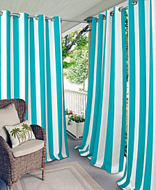 "Elrene Aiden Stripe 52"" x 95"" Indoor/Outdoor Grommet Panel with 50+ UV Protection"