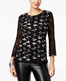 Style & Co Embroidered Lace Top, Created for Macy's