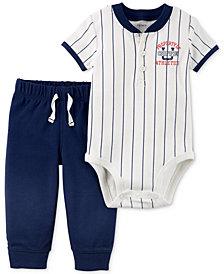 Carter's 2-Pc. Cotton Baseball Bodysuit & Jogger Pants Set, Baby Boys