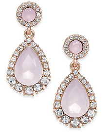 Rose Gold-Tone Pavé & Pink Stone Drop Earrings, Created for Macy's