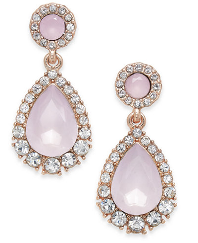 Charter Club Rose Gold-Tone Pavé & Pink Stone Drop Earrings, Created for Macy's