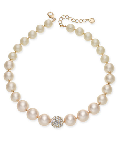 Charter Club Rose Gold-Tone Pavé & Pink Imitation Pearl Collar Necklace, Created for Macy's