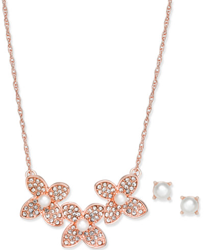 Charter Club Rose Gold-Tone Pavé and Imitation Pearl Flower Statement Necklace & Stud Earrings Set, Created for Macy's