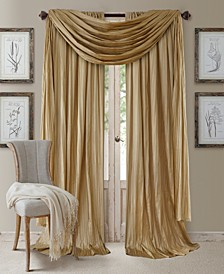 Athena Faux Silk Pair of Curtain Panels with Scarf Valance, Set of 3