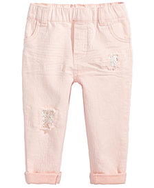 First Impressions Destructed Jeans, Baby Girls, Created for Macy's