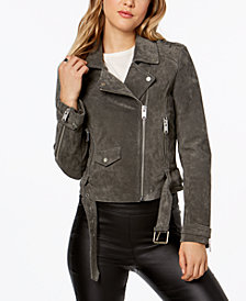 Marc New York Suede Belted Moto Jacket