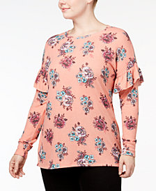 No Comment Trendy Plus Size Ruffle-Shoulder Top