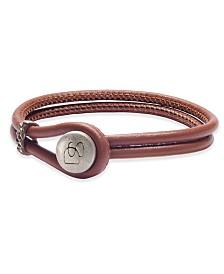 DEGS & SAL Men's Two-Row Leather Bracelet in Sterling Silver