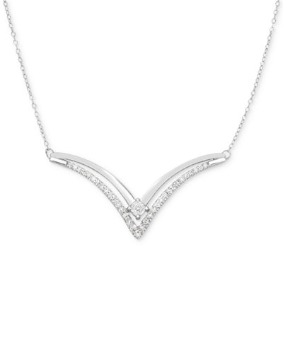 Diamond Chevron Statement Necklace (1/3 ct. t.w.) in 14k White Gold