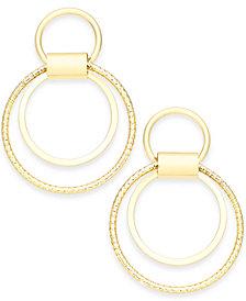 Thalia Sodi Gold-Tone Double-Circle Drop Hoop Earrings, Created for Macy's