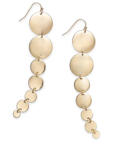 Thalia Sodi Gold-Tone Graduated Disc Linear Drop Earrings, Created for Macy's