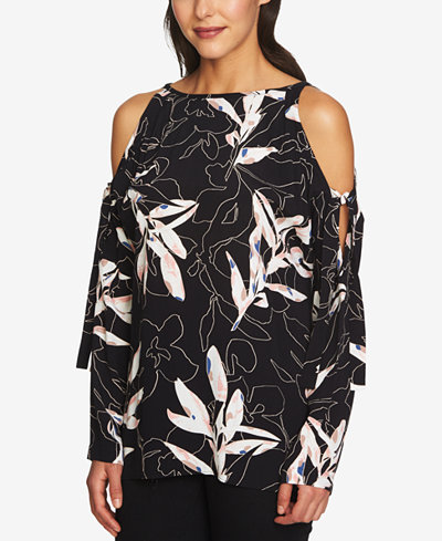 1.STATE Printed Cold-Shoulder Top