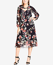 City Chic Trendy Plus Size Floral-Print Midi Dress