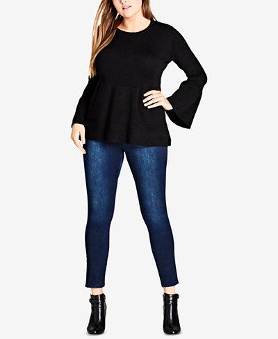 City Chic Trendy Plus Size Bell-Sleeve Peplum Sweater