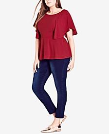 Trendy Plus Size Flutter-Sleeve Peplum Top