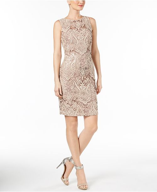 Calvin Klein Sequined Lace Illusion Sheath Dress Reviews