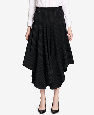 Calvin Klein Pinstriped High-Low Skirt