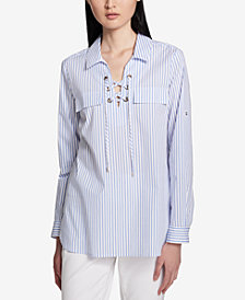 Calvin Klein Cotton Lace-Up Pinstriped Top