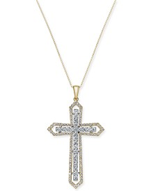 Diamond Two-Tone Cross Pendant Necklace (1 ct. t.w.) in 14k Yellow and White Gold
