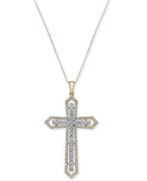 Macy's Diamond Two-Tone Cross Pendant Necklace (1 ct. t.w.) in 14k Yellow and White Gold