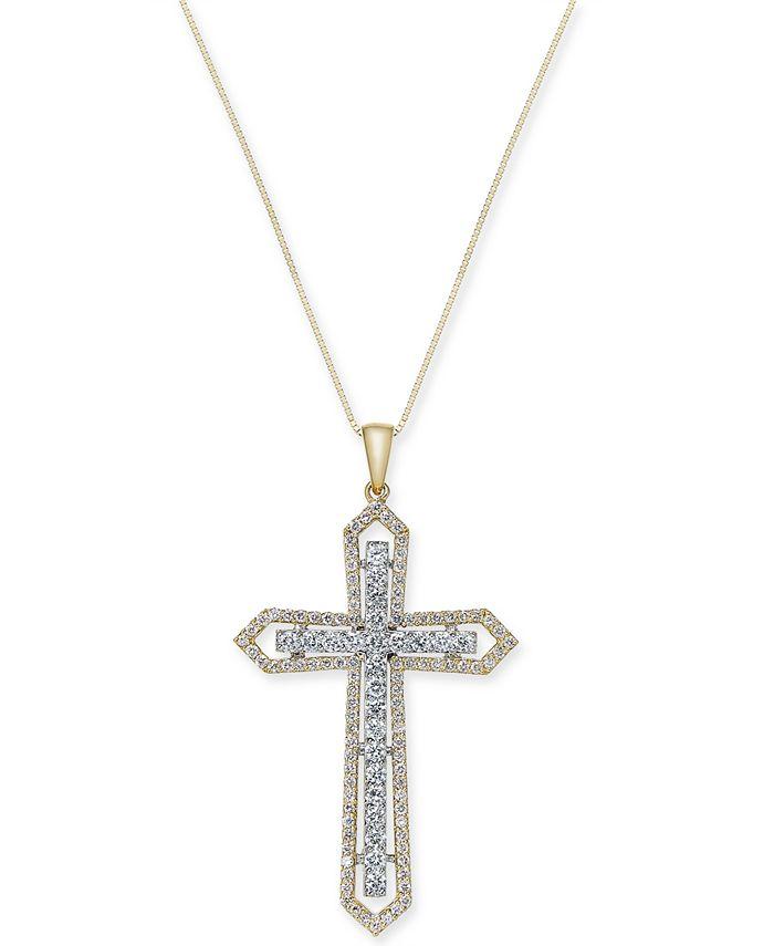 Macy's - Diamond Two-Tone Cross Pendant Necklace (1 ct. t.w.) in 14k Gold