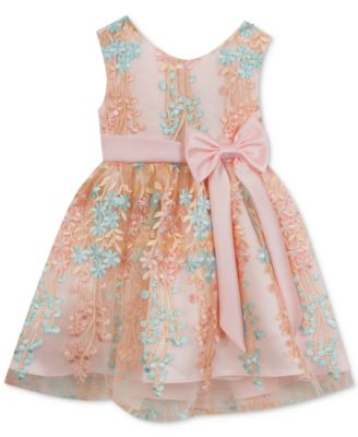 Rare Editions Blush Mint Floral Print Dress Baby Girls