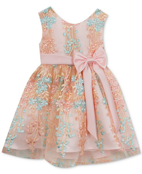 Rare Editions Blush & Mint Floral-Print Dress, Baby Girls